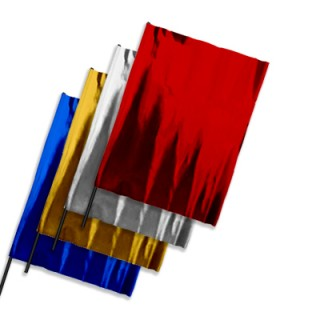 Plastic film flags metallic upright format