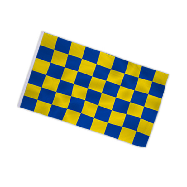 Checkered flag blue - yellow 90x150cm