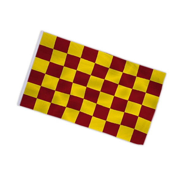 Checkered flag wine red - yellow 90x150cm