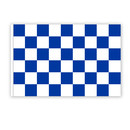 Checkered flag white - blue 90x150cm - with hemstitch