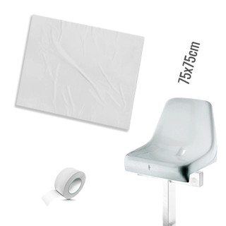 Plastic film seat cover 75x75cm - white