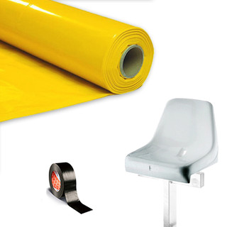 Plastic film seat covering roll 0,75x200m - yellow