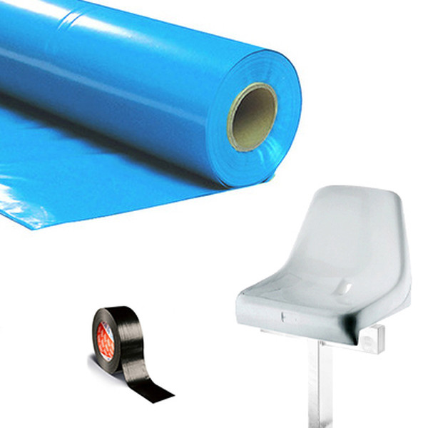 Plastic film seat covering roll 0,75x200m - light blue