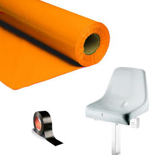 Plastic film seat covering roll 0,75x200m - orange