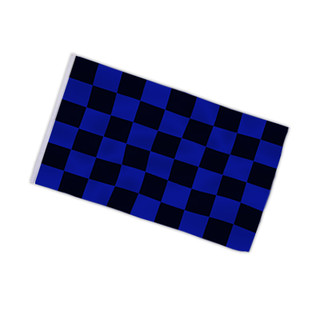 Checkered flag black - blue 90x150cm